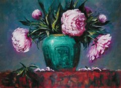 Peonies in Chinese Ginger Jar - 16 x 20