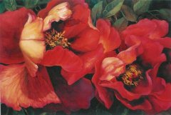 Red Tree Peonies - 24 x 36
